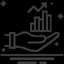 Ilustração de uma mão com gráfico em cima