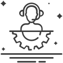 Desenho de atendente de suporte técnico