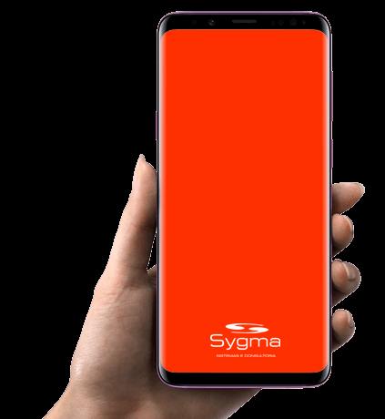 Celular com logomarca da Sygma