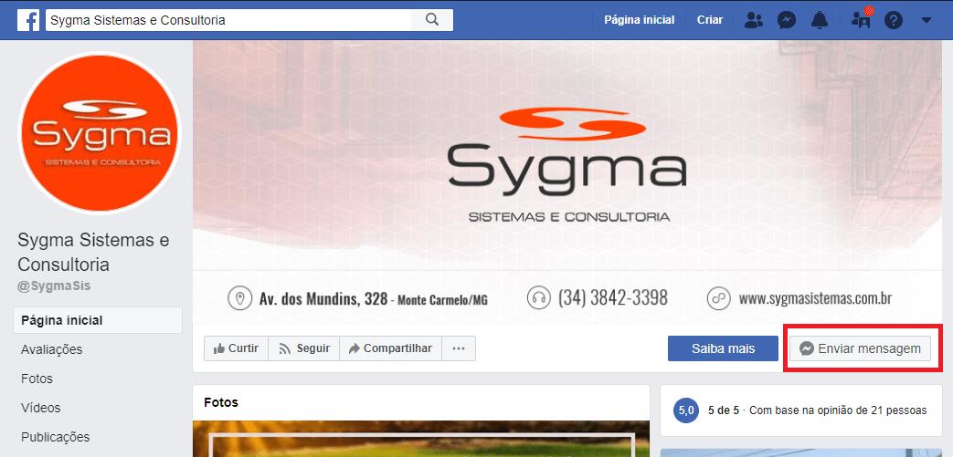 Captura de tela do Facebook mostrando como enviar mensagem