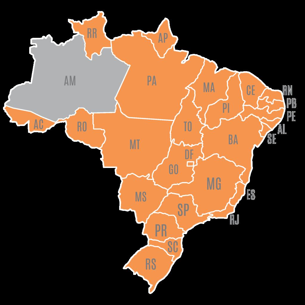 Mapa do Brasil mostrando onde tem cliente Sygma, com apenas Amazonas não marcado