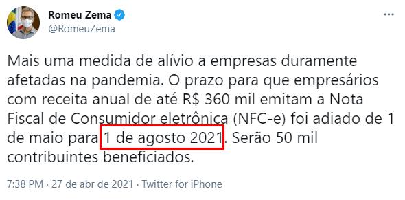 Postagem de Romeu Zema prorrogando NFCe MG com Resolução 5645/2021