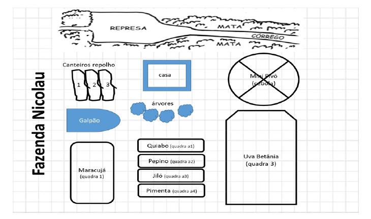 Ilustração de fazenda e canteiros para exemplificar um croqui do Caderno de Campo