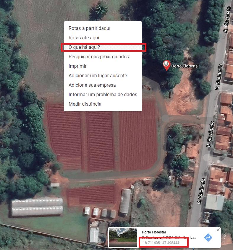 Imagem de Satélite do Google Maps mostrando as coordenadas geográficas de fazenda
