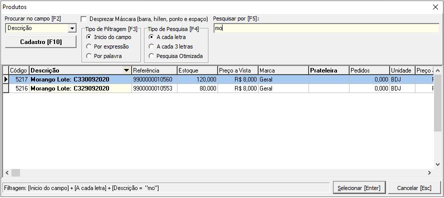 Captura de tela do Emissor Fiscal Sygma, mostrando produtos cadastrados em lote