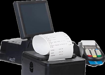 Impressora de Cupom Fiscal com computador e terminal POS