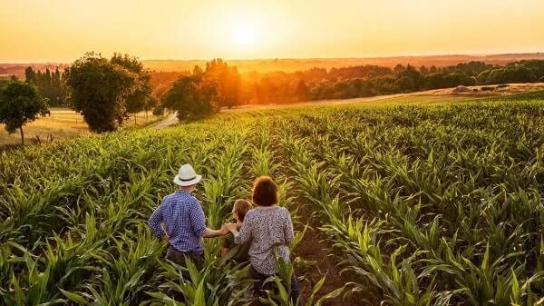 Produtor Rural no campo com familiares